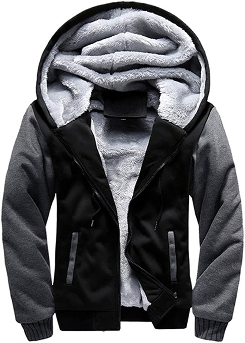 FOURSTEEDS Women Faux Fur Hooded Cotton Outerwear and Coats Dark Grey&Black US 12-14