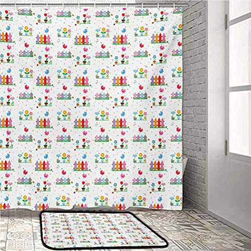 Floral Bathroom Shower Curtain Sets with Rugs and Towels and Accessories Bedding Plants Garden Fences Cottage Yard Flowers in Pots Childish Beetles Pattern Carpets for bedrooms Multicolor