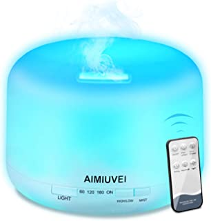AIMIUVEI 500ml Humidificador Aromaterapia Ultrasonico con Mando a Distancia, Difusor de Aceites Esenciales Aromaterapia Ultra Silencioso, Purificador de Aire y 7 Luces LED Humidificador para Bebes etc