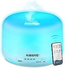 AIMIUVEI 500ml Humidificador Aromaterapia Ultrasonico con Mando a Distancia, Difusor de Aceites Esenciales Aromaterapia Ultra Silencioso, Apagado Automático y 7 Luces LED Humidificador para Bebes etc