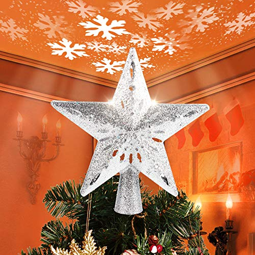 Christmas Decorations, HueLiv Christmas Star Tree Topper with Lighted White Rotating LED Snowflake Projector, 3D Glitter Hollow Night Light Topper for Xmas Tree Decoration, Best Gift for Kids - Silver
