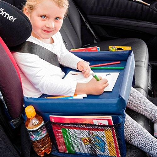 TRI Auto-Kindertisch, Maltisch Reisetisch Spieltisch Knietablett fürs Auto mit 4 Netztaschen, Tischfläche 40 x 26 x 4,5 cm