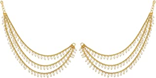 TAZS-TRENDY AMAZING ZEAL STORE Gold Plated 3 Layer Pearl Hair Chain for Women (sarasari) Kaan Chain