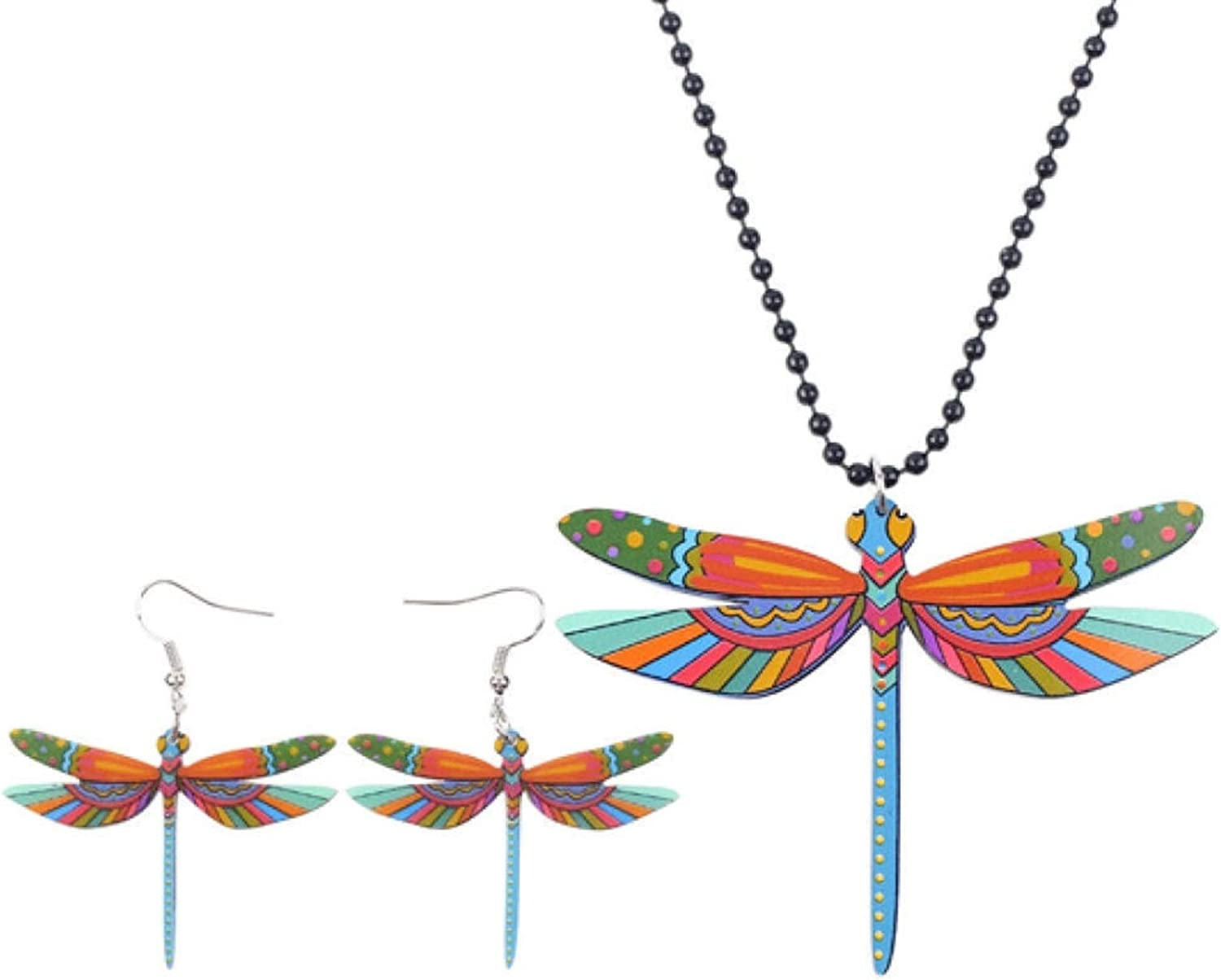 bayue Acrylic Printing Dragonfly Jewelry Set Necklace Earring Fashion Animal Jewelry Insect Zhaozb (Color : Multicolor)