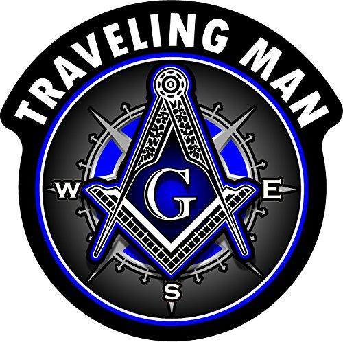 ProSticker 121V (One) Masonic Series Traveling Man Shriner Freemason Compass Decal Sticker (4')