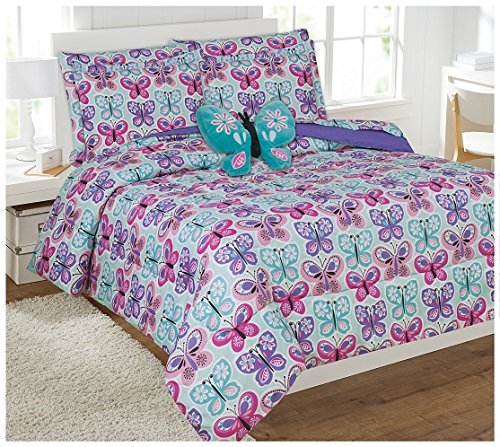 Fancy Linen Collection 8 Pc Butterfly Purple Blue/Turquise Comforter set With Furry Buddy Included Full Butterfly