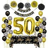 Decoraciones para Fiesta de Cumpleaños Kit de Oro Negro - Paquetes de Suministros para Mujeres y Hombres, Feliz Cumpleaños Banner PomPoms Globo de Papel Mantel Desechable para Papá Mamá 50 Cumpleaños
