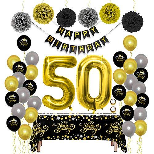 Decoraciones para Fiesta de Cumpleaños Kit de Oro Negro - Paquetes de Suministros para Mujeres y Hombres, Feliz Cumpleaños Banner PomPoms Globo de Papel Mantel Desechable para Papá Mamá 50 Cum