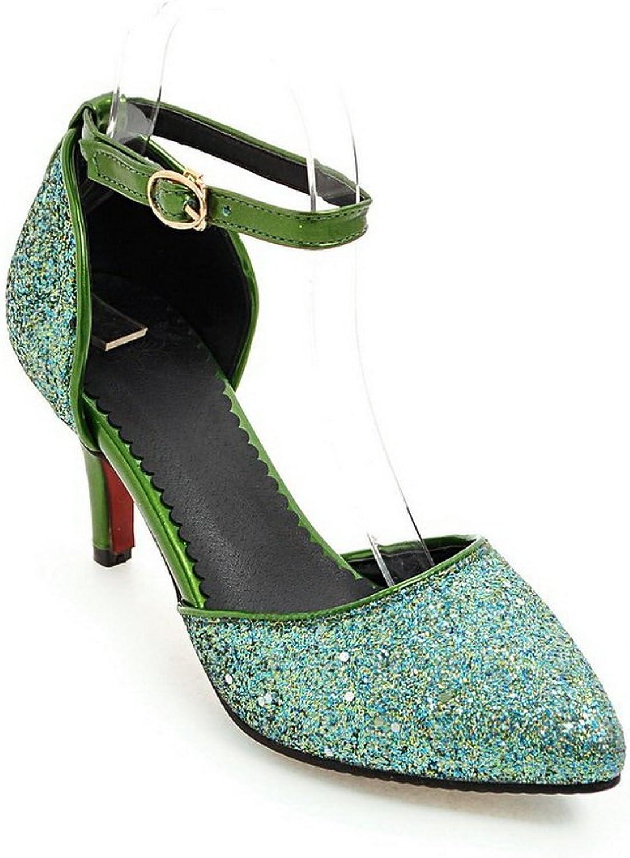 BalaMasa Womens Sandals Kitten-Heels Studded Urethane Sandals ASL04837