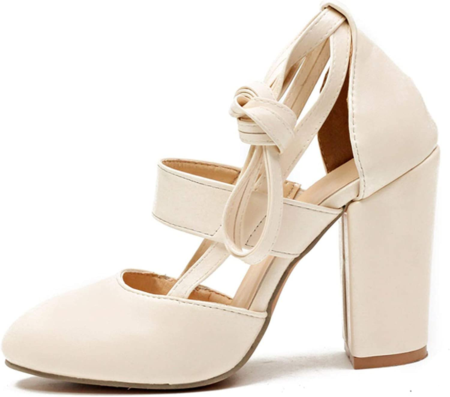 Monica's house Plus Size Female Ankle Strap High Heels shoes Thick Heel for Women Party Wedding,Beige-D2314,6.5