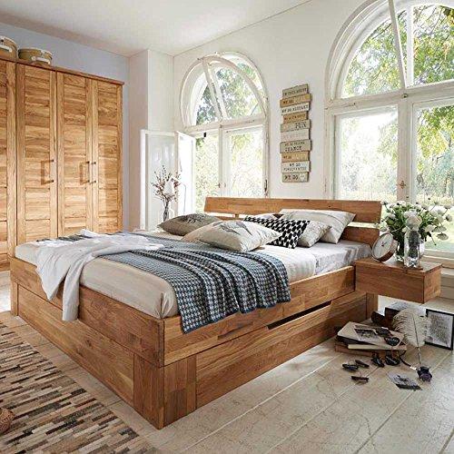 Pharao24 Doppelbett aus Wildeiche Massivholz Bettkasten Breite 186 cm Ohne Liegefläche 180x200