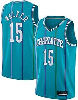 LDFN-Jerseys Kemba Walker #15 Pallacanestro Jersey Maschile NBA Charlotte Hornets Uomo Mesh Pallacanestro Swingman Jersey Maniche Sport Canotta