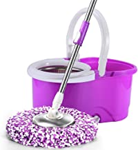 Wheel Bucket System with Stainless Steel Rolling Mop Set for Floor CleaningWith Extended Length Adjustable Handle 5 Micro ...