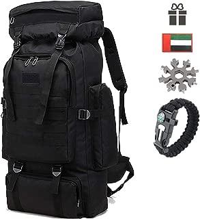 Befound Mountaineering Bag, Large Capacity Camouflage Waterproof Hiking Bag 80l, Wear-Resistant, Tear Resistant Outdoor Bag, for Outdoor Enthusiast, Backpackers, Traveler, Biker, Fishing, Hunter (F)