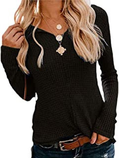 Womens Long Sleeve V Neck Jumpers Pure Color Knitting Sweaters Top