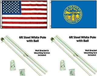 ALBATROS 3 ft x 5 ft USA American with State of Nebraska Flag White Pole Kit Ball Top for Home and Parades, Official Party, All Weather Indoors Outdoors