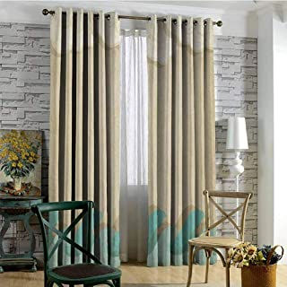 Ocean Waves And Clouds 100% blackout lining curtain Grunge Vintage Design Water Silhouette Nautical Theme Full shading treatment kitchen insulation curtain W72 x L96 Inch Sand Brown Cream Seafoam