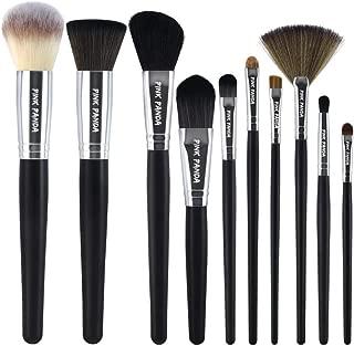 PINKPANDA Makeup Brushes,10 Pcs Makeup Brush Set,Premium Synthetic for Foundation Brush Blending Face Powder Blush Concealers Eye Shadows Make Up Brushes Kit (Black Wooden Handle)