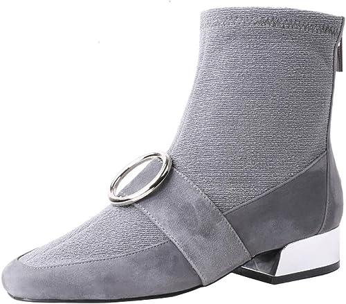 SYYAN Femmes Rétro Cuir Tête Carrée Bouton en Métal Manuel Pompe Chaussettes Bottes , gris , 40