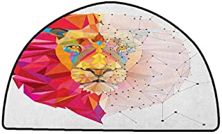 Large Floor Mats for Living Room Colorful Geometric,Lion Head Art Geometric Graphic in Digital Triangle Rainbow Retro Style, White Pink Orange,W30 x L18 Half Round Kitchen Rugs Non Skid