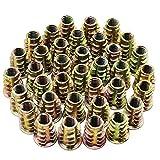 HSEAMALL 50 piezas tuercas hexagonales de aleación de zinc tuercas roscadas M6 tuercas insertables para muebles de madera