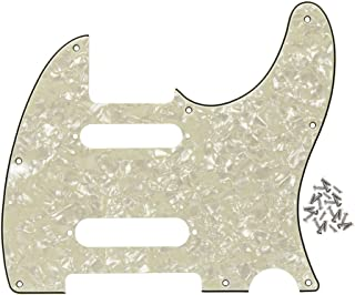 IKN 8 Hole Guitar Tele Pickguard Plate with Screws Fit Fender Nashville Telecaster Pickguard Replacement,4Ply Aged Pearl
