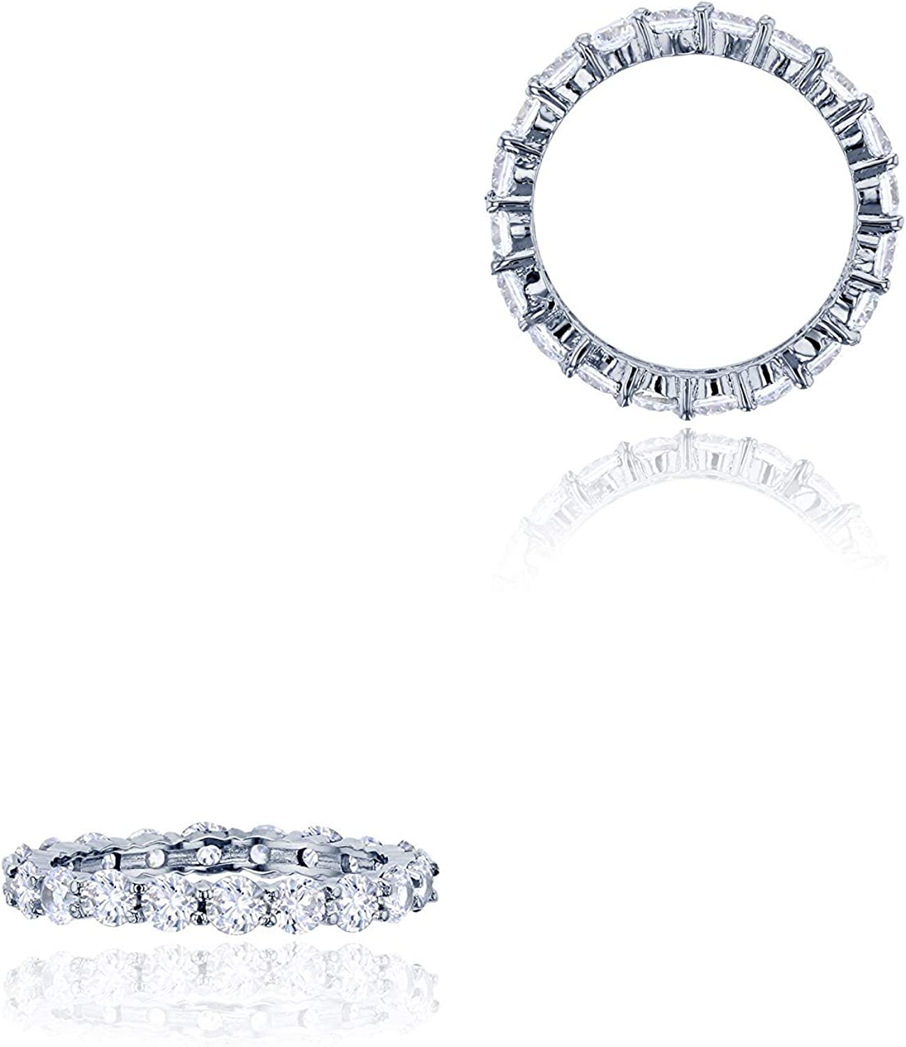 Sterling Silver 3mm Round Ring Prong Set Austin Mall Eternity Free Shipping Cheap Bargain Gift