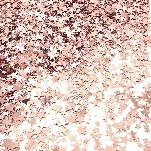 Rose Gold Party Twinkle Stars Table Confetti Foil Metallic Sequins Confetti Wedding Bridal Shower Bachelorette Baby Shower Birthday Christmas Party Sprinkles Confetti Decorations, 60g