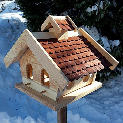 Vogelhaus-XXL mit Holzschindeln und Putzklappe lasiert Vogelhäuser-Vogelfutterhaus großes Vogelhäuschen-aus Holz Wetterschutz (Braun) - 2