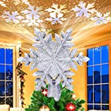 Christmas Tree Topper Lighted, Snowflake Tree Topper Projector with...