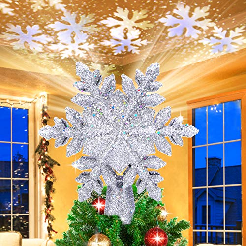 Christmas Tree Topper Lighted, Snowflake Tree Topper Projector with LED Rotating, 3D Hollow Glitter Sliver Lighted Tree Topper Star, Xmas Tree Topper Star for Christmas Tree Decorations (Silver)