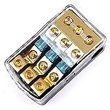 LEIGESAUDIO Copper 0/4 Gauge to 4/8 Gauge 60 Amp Mini ANL 3 Way Fuse Holder Distribution Block
