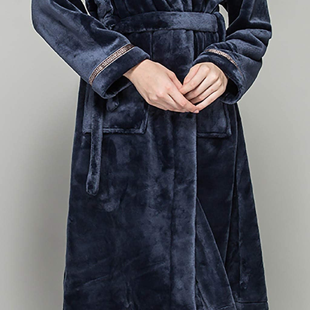 Wadonerful Men Women Winter Plush Bathrobe Thicken Home Clothes Robe Sleepwear Flannel Nightgown Fleece Pajamas Couples