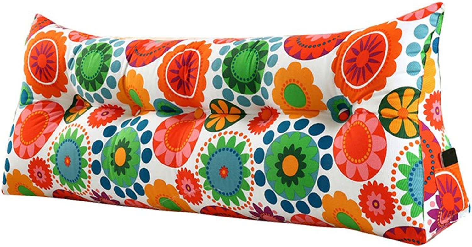DDSS Bed cushion Bed Cushion Triangular Large Back Long Pillows On The Bed Washable Lumbar Pillow Predection Waist Double Bed Canvas Flower Pattern 5 Sizes  -  (Size   100CM)