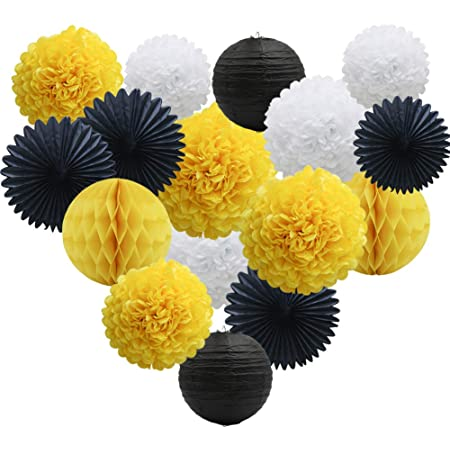 Set of 15 Mixed White Yellow Black Tissue Paper Pom Poms Honeycomb Ball Paper Lantern for Baby Shower Birthday Decor Halloween Party Decor