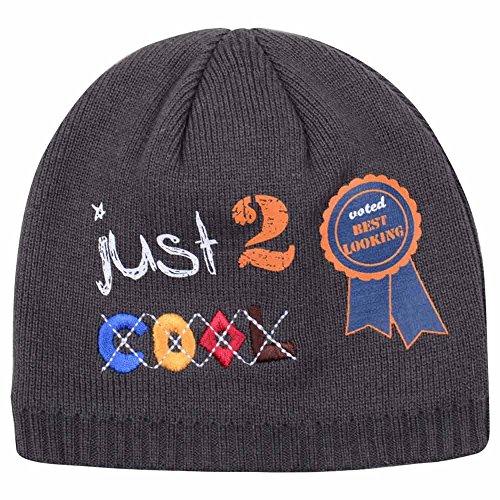 Hiver chaud côtelé Bonnet Garçon Fille Bonnet d'hiver en tricot pour enfants bébé garçon Chapeau Taille Gamme nouveau-né – 3 ans - Gris -