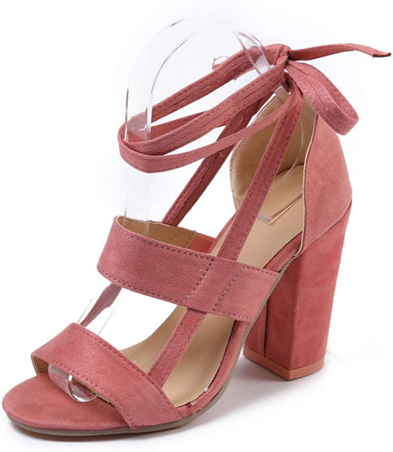 Women Pumps Suede Summer Sandals Lace Up Open Toe Sexy Casual High Heels