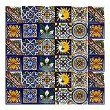 Cerames azulejos decorativos de colores de la pared Pablo | azulejos cocina ceramica, para cuarto de baño y cocina, 10x10 cm, 30 piezas por paquete