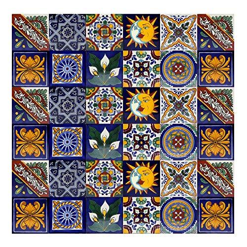 Cerames - Pablo | Piastrelle mattonelle messicane 30 piezzi 10,5x10,5 cm | Paraschizzi cucina piastrelle | Specchio da parete cucina, bagno, WC