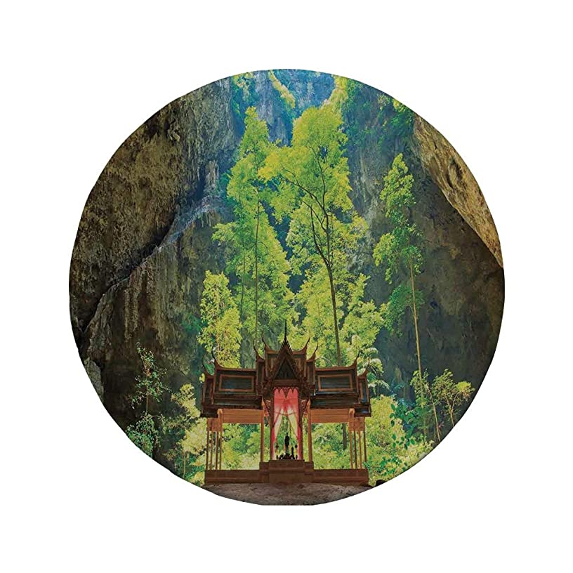 Non-Slip Rubber Round Mouse Pad,Natural Cave Decorations,Latent Pavilion in Between The Cliffs Discovery of Faith in The Nature Art Picture,Multi,11.8