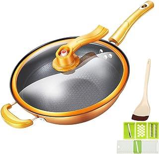 Olla Antiadherente con Tapa, Utensilios De Cocina Wok De 32 cm - Parte Inferior Compuesta De Múltiples Capas, Válvula De Aire - 2 X Rebanador De Vegetales, 1X Pala De Silicona (Oro)