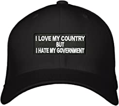 I Love My Country But I Hate My Government Hat - Adjustable Mens Black - Funny Political Cap