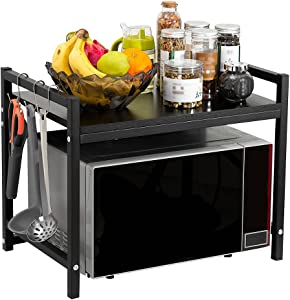 GAJOO Microwave Oven Rack Shelf for Kitchen, 2-Tier Kitchen Countertop Organizer Rack for Storage, 20.4