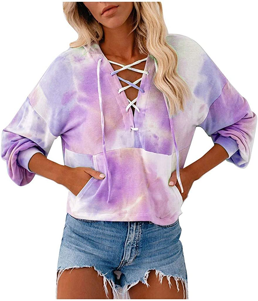 Women's Casual Tie-Dye Hoodies Sweatshirt Long Sleeve Pullover Hollow Out Neck Tops Splice Blouse with Pocket