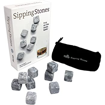 Sipping Stones Whisky Chilling Rocks- 9 Piece Grey Whiskey Stones- FDA Approved Pure Soapstone
