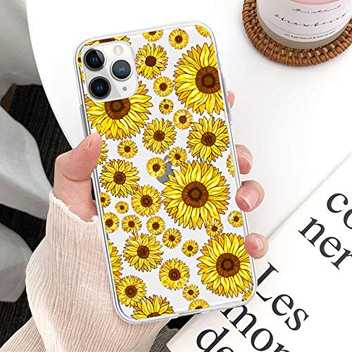 WellingA Iphone7/8 Protectora de Teléfono Case Funda Transparente para Teléfono Girasol Ultra Fina Silicona Transparente TPU Cases Anti-Caíd,003,iphone11