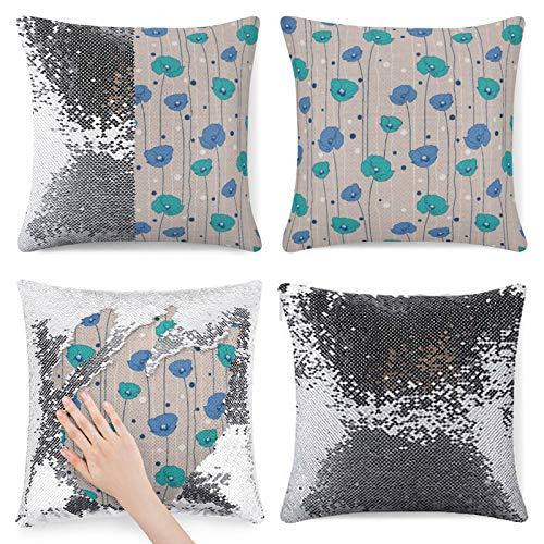 Funda de almohada con lentejuelas, funda de almohada con lentejuelas, diseño de amapola con lunares abstractos Nature Inspi, diseño floral de sirena, funda de almohada reversible mágica