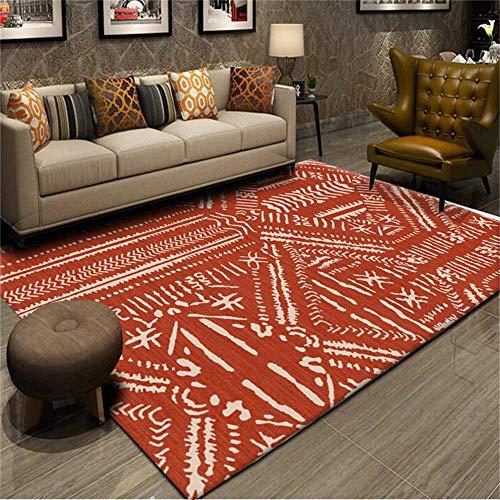 Alfombra alfombras para dormitorios Alfombra de diseño Minimalista roja y Blanca Antideslizante fácil de Limpiar alfombras de habitacion Antideslizante baño 180X250CM