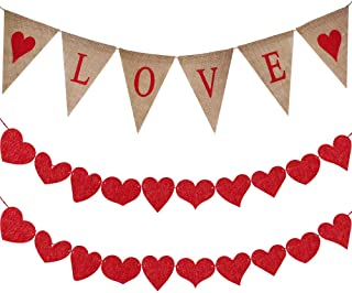 Supla 6.6' Long LOVE Letters and Hearts Sign Valentine' Burlap Banner Rustic Jute Burlap Pennant Flags LOVE Bunting Banner and 20 Pcs 10 Shape Red Felt Hearts Garland Banner with Red Paper Raffia Cord
