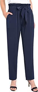 Weintee Women's Paperbag Waist Pants with Pockets